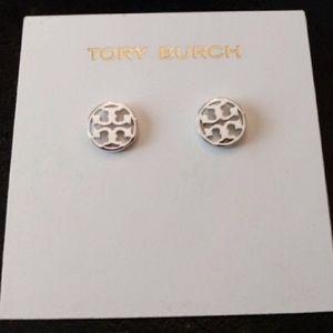 Tory Burch NWOT Silver Circle Logo Stud Earrings